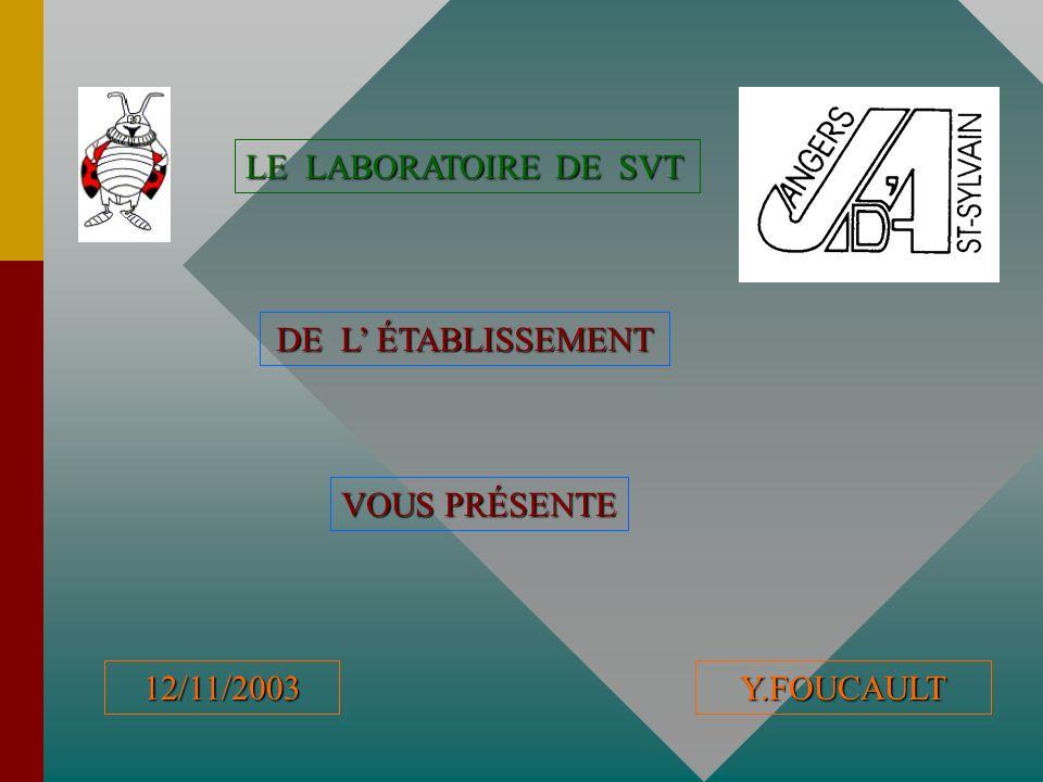 LE LABORATOIRE DE SVT DE L' ÉTABLISSEMENT VOUS PRÉSENTE 12/11/2003Y.FOUCAULT