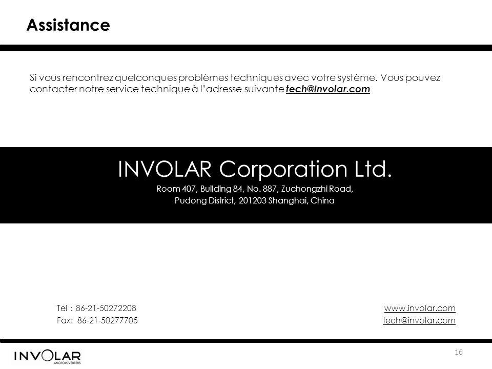 INVOLAR Corporation Ltd. Room 407, Building 84, No. 887, Zuchongzhi Road, Pudong District, 201203 Shanghai, China Tel : 86-21-50272208 www.involar.com