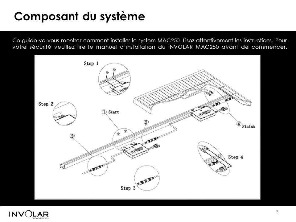 3 Composant du système Ce guide va vous montrer comment installer le system MAC250.