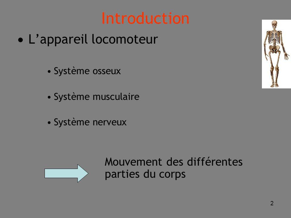 2 Introduction  L'appareil locomoteur Système osseux Système musculaire Système nerveux Mouvement des différentes parties du corps