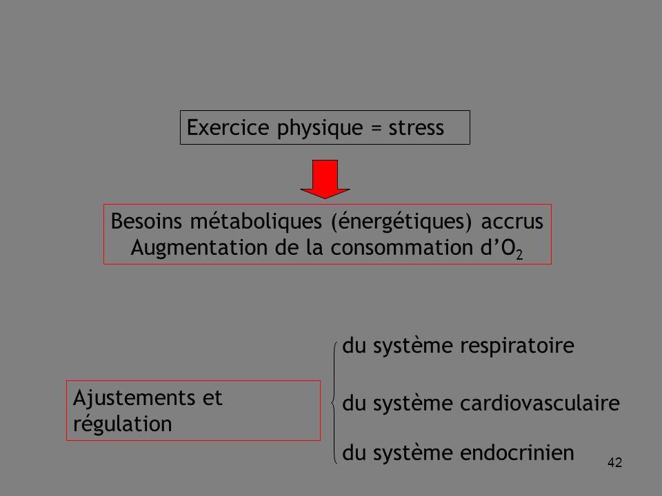 42 Exercice physique = stress Besoins métaboliques (énergétiques) accrus Augmentation de la consommation d'O 2 Ajustements et régulation du système respiratoire du système cardiovasculaire du système endocrinien