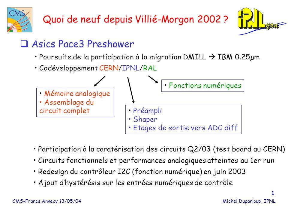 CMS-France Annecy 13/05/04Michel Dupanloup, IPNL 2 Quoi de neuf depuis Villié-Morgon 2002 .