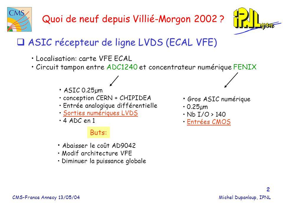 CMS-France Annecy 13/05/04Michel Dupanloup, IPNL 3 ASIC LVDS_RX Remplacer le circuit commercial TI utilisé sur la carte VFE 2003 par un circuit durci BUT