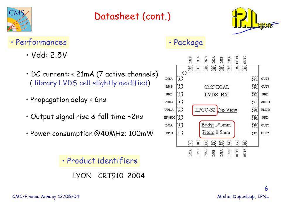 CMS-France Annecy 13/05/04Michel Dupanloup, IPNL 7 LVDS_RX Layout Surface: 2mm*2mm Fonderie Altis 03/04