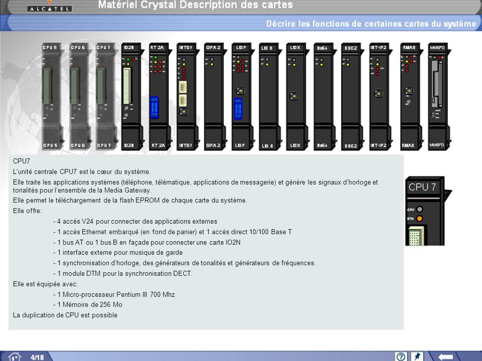 CPU7 L unité centrale CPU7 est le cœur du système.