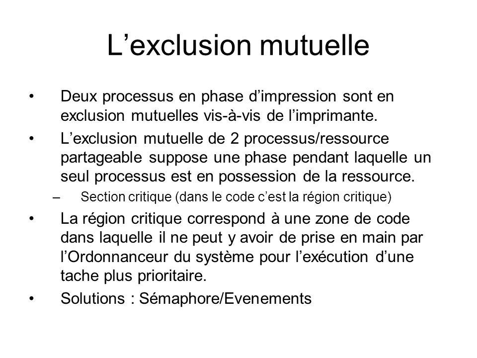 L'exclusion mutuelle Deux processus en phase d'impression sont en exclusion mutuelles vis-à-vis de l'imprimante. L'exclusion mutuelle de 2 processus/r