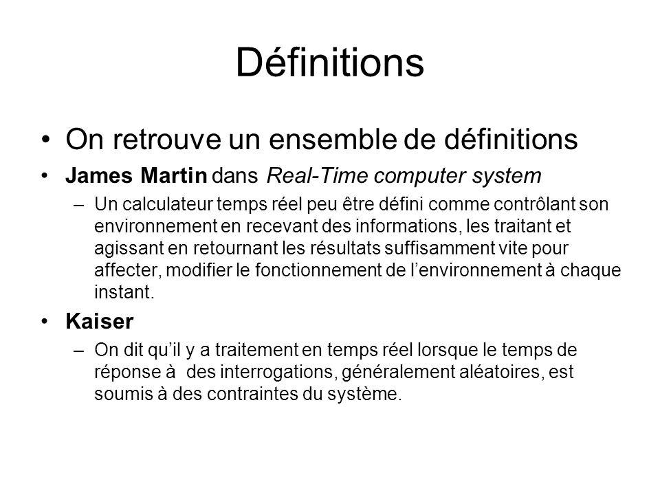 Définitions On retrouve un ensemble de définitions James Martin dans Real-Time computer system –Un calculateur temps réel peu être défini comme contrô