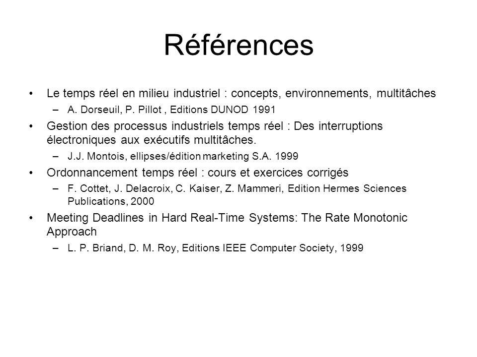 Références Le temps réel en milieu industriel : concepts, environnements, multitâches –A. Dorseuil, P. Pillot, Editions DUNOD 1991 Gestion des process