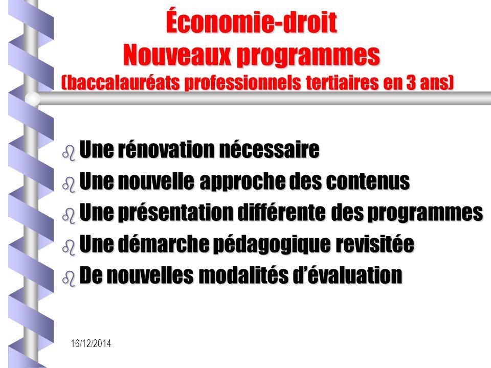 16/12/2014 Économie-droit Nouveaux programmes (baccalauréats professionnels tertiaires en 3 ans) Économie-droit Nouveaux programmes (baccalauréats pro