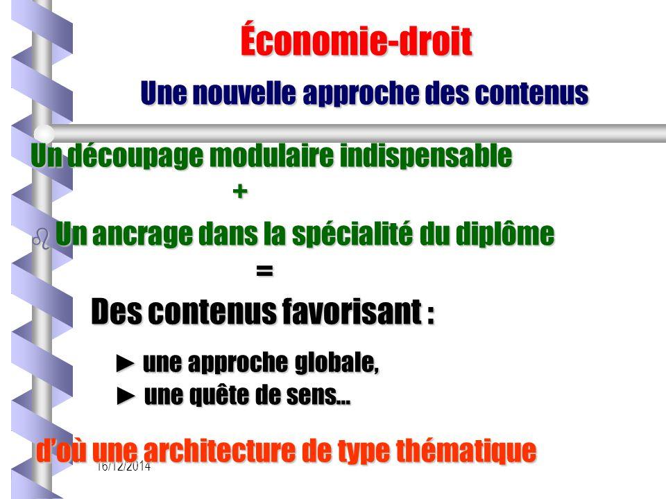 16/12/2014 Économie-droit Une nouvelle approche des contenus Économie-droit Une nouvelle approche des contenus Un découpage modulaire indispensable +