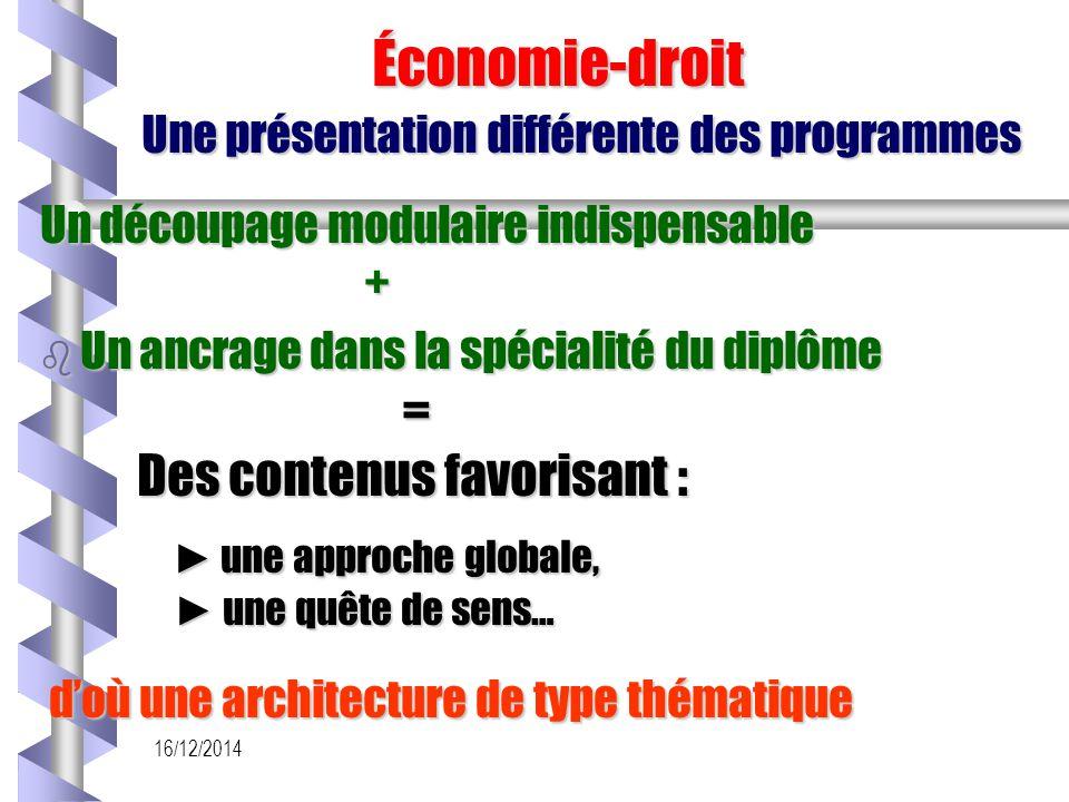 16/12/2014 Économie-droit Une présentation différente des programmes Économie-droit Une présentation différente des programmes Un découpage modulaire