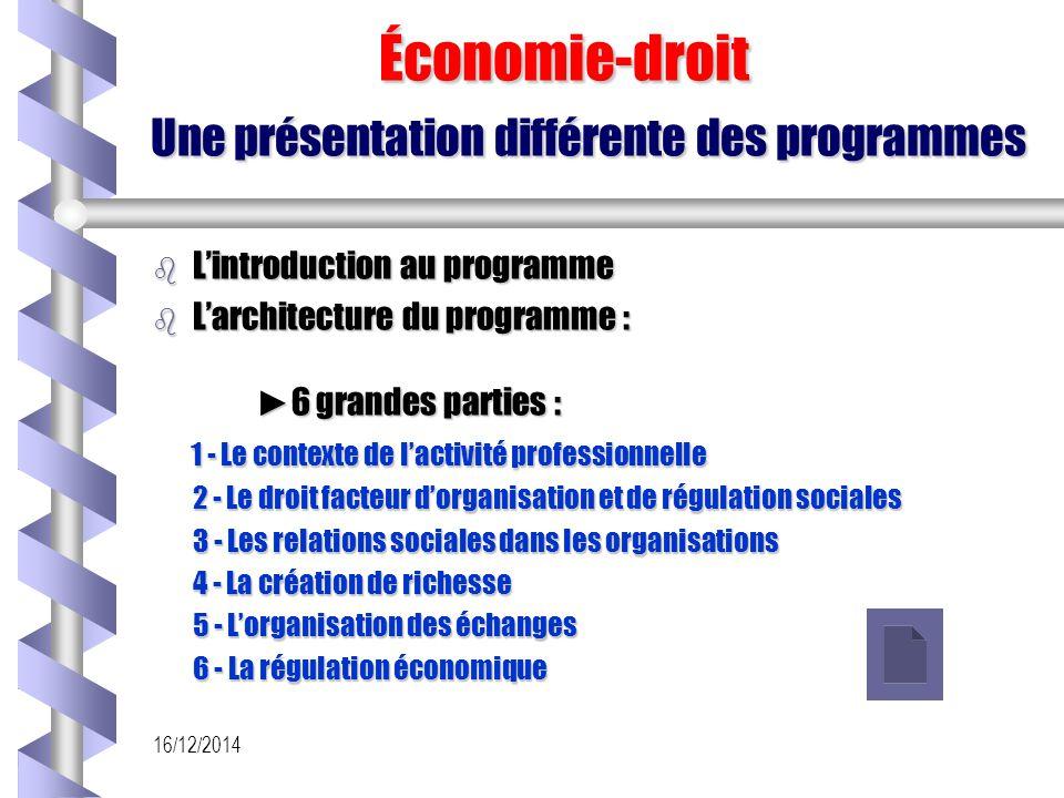 16/12/2014 Économie-droit Une présentation différente des programmes Économie-droit Une présentation différente des programmes b L'introduction au pro