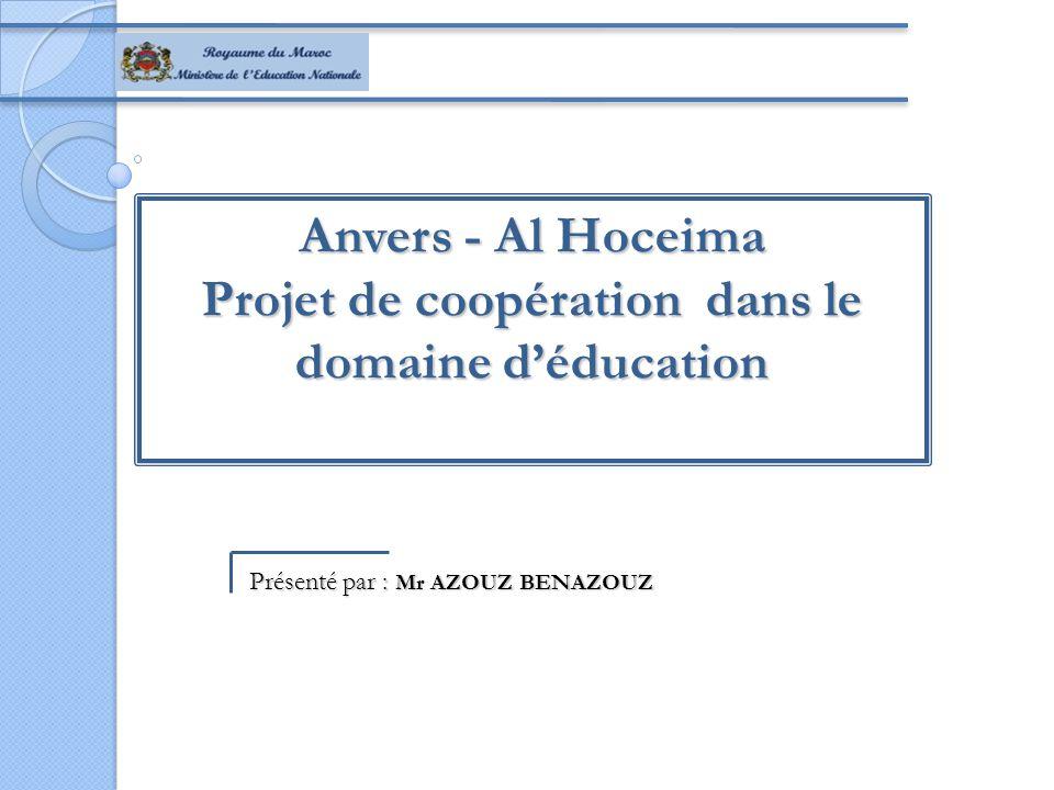 Anvers - Al Hoceima Projet de coopération dans le domaine d'éducation Présenté par : Mr AZOUZ BENAZOUZ