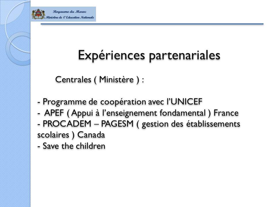 Expériences partenariales Centrales ( Ministère ) : - Programme de coopération avec l'UNICEF - APEF ( Appui à l'enseignement fondamental ) France - PROCADEM – PAGESM ( gestion des établissements scolaires ) Canada - Save the children Expériences partenariales Centrales ( Ministère ) : - Programme de coopération avec l'UNICEF - APEF ( Appui à l'enseignement fondamental ) France - PROCADEM – PAGESM ( gestion des établissements scolaires ) Canada - Save the children