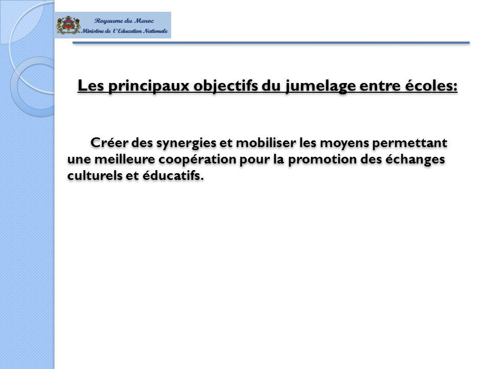 Les principaux objectifs du jumelage entre écoles: Créer des synergies et mobiliser les moyens permettant une meilleure coopération pour la promotion des échanges culturels et éducatifs.