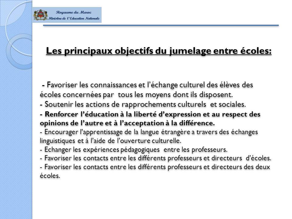 Les principaux objectifs du jumelage entre écoles: - Favoriser les connaissances et l'échange culturel des élèves des écoles concernées par tous les moyens dont ils disposent.