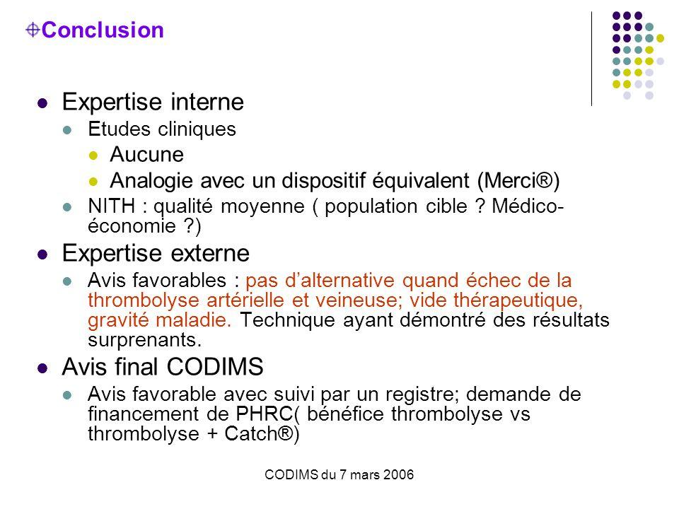 CODIMS du 7 mars 2006 Conclusion Expertise interne Etudes cliniques Aucune Analogie avec un dispositif équivalent (Merci®) NITH : qualité moyenne ( population cible .