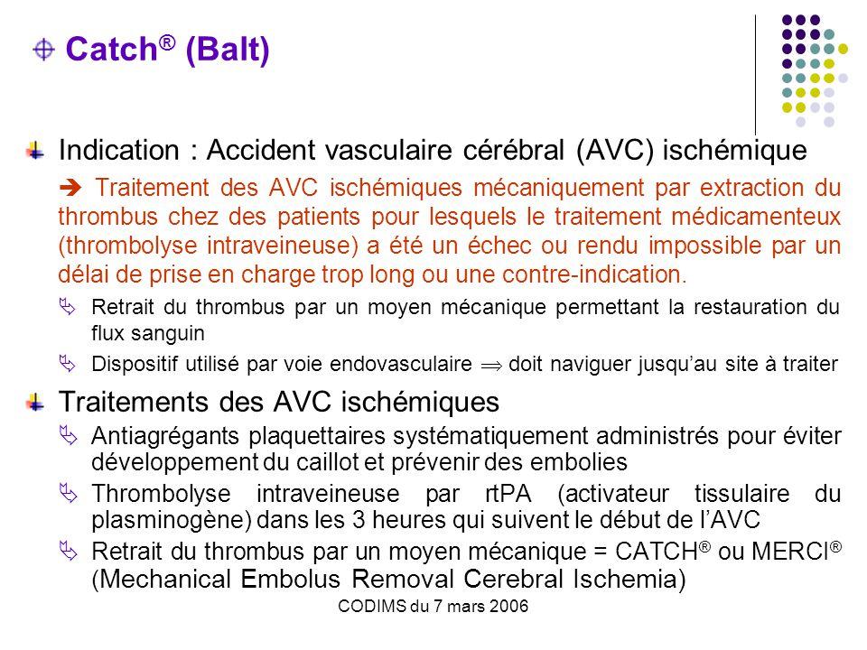 CODIMS du 7 mars 2006 Epidémiologie En France : entre 120 000 et 130 000 personnes chaque année victimes d'un accident vasculaire cérébral (AVC).