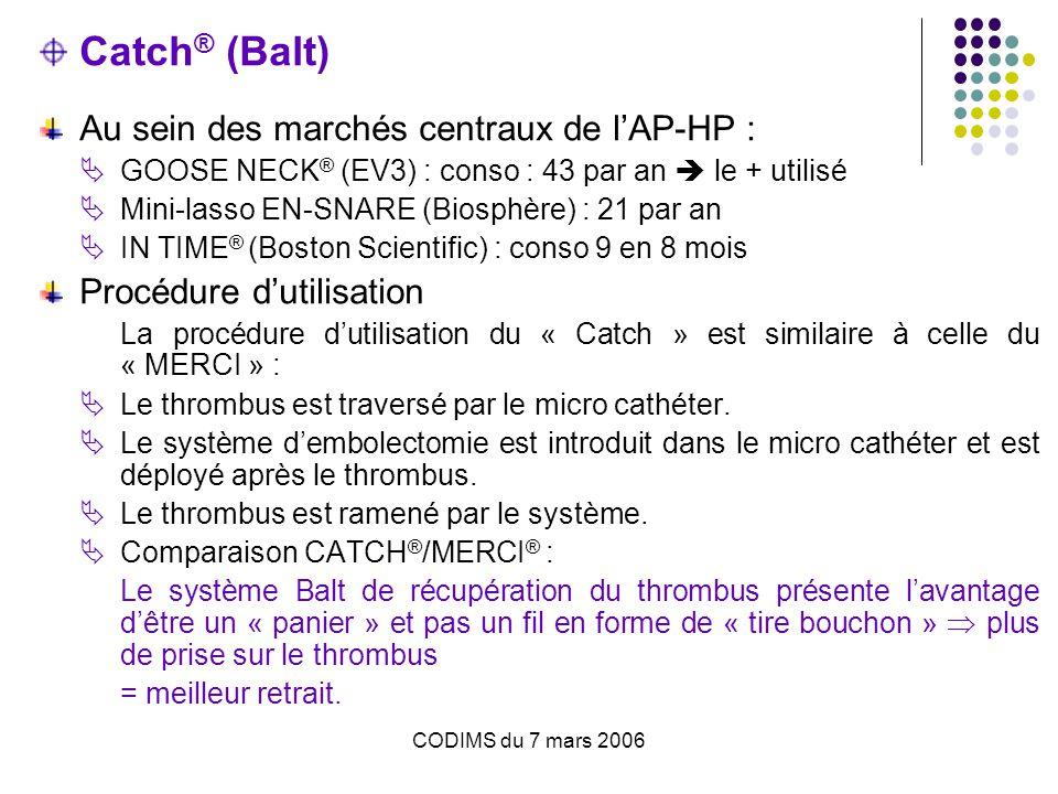 CODIMS du 7 mars 2006 Catch ® (Balt) Au sein des marchés centraux de l'AP-HP :  GOOSE NECK ® (EV3) : conso : 43 par an  le + utilisé  Mini-lasso EN-SNARE (Biosphère) : 21 par an  IN TIME ® (Boston Scientific) : conso 9 en 8 mois Procédure d'utilisation La procédure d'utilisation du « Catch » est similaire à celle du « MERCI » :  Le thrombus est traversé par le micro cathéter.