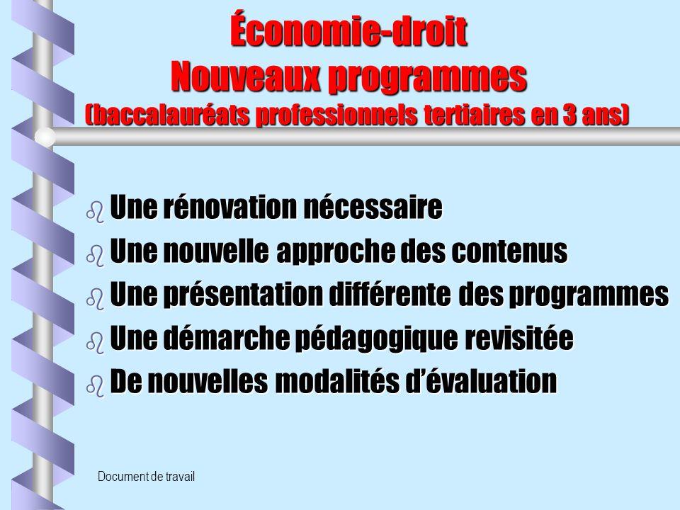 Document de travail Économie-droit Nouveaux programmes (baccalauréats professionnels tertiaires en 3 ans) Économie-droit Nouveaux programmes (baccalau
