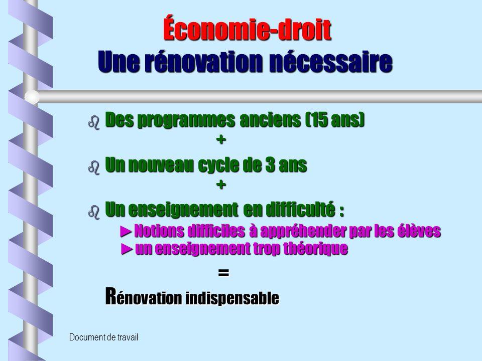 Document de travail Économie-droit Une rénovation nécessaire Économie-droit Une rénovation nécessaire b Des programmes anciens (15 ans) + b Un nouveau
