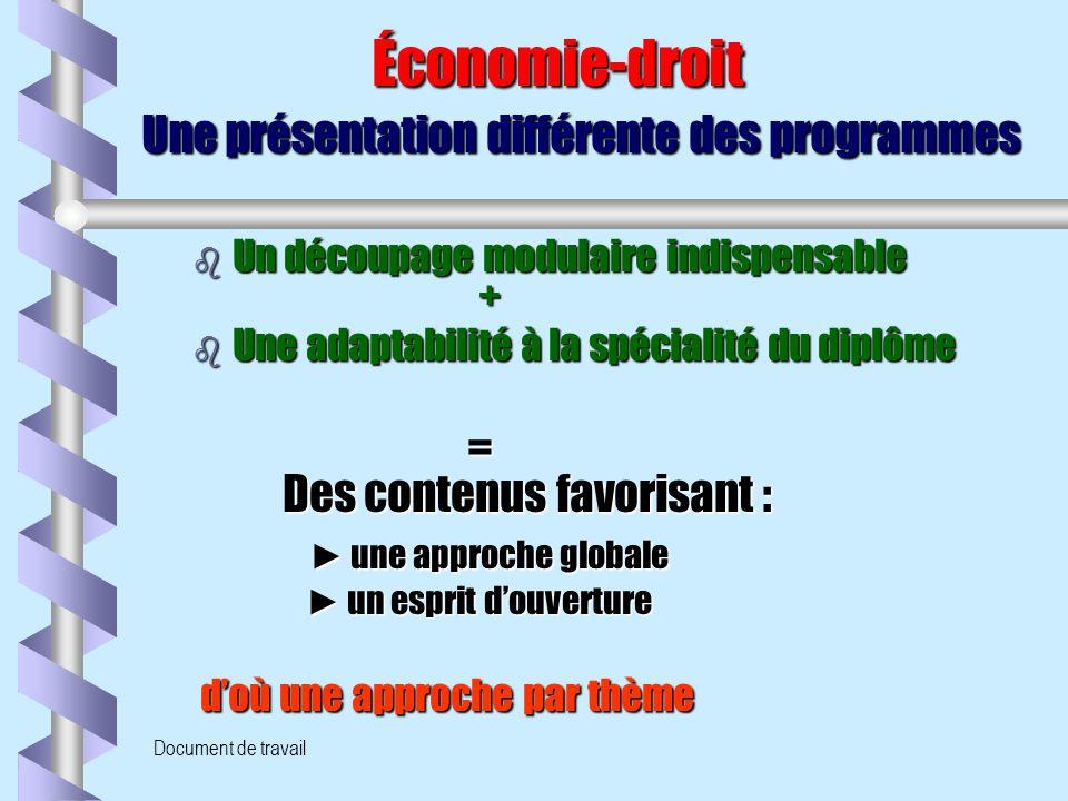 Document de travail Économie-droit Une présentation différente des programmes Économie-droit Une présentation différente des programmes b Un découpage