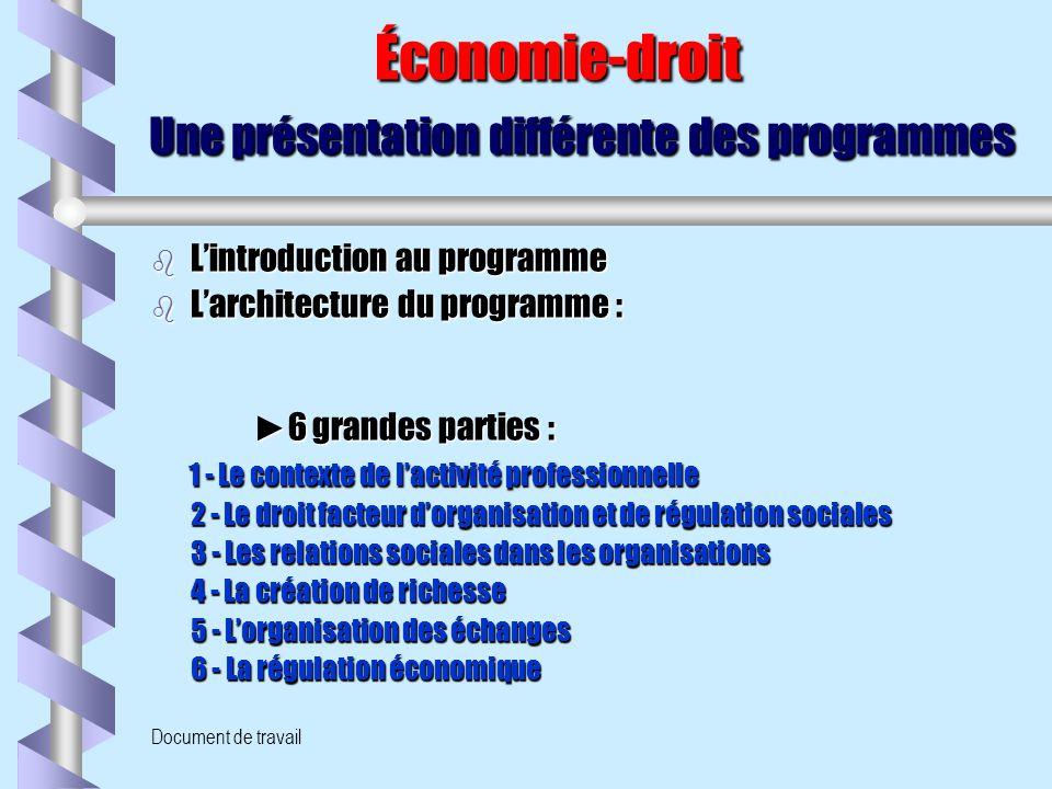 Document de travail Économie-droit Une présentation différente des programmes Économie-droit Une présentation différente des programmes b L'introducti
