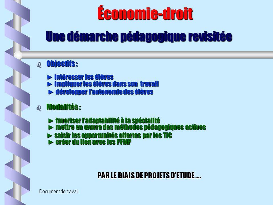 Document de travail Économie-droit Une démarche pédagogique revisitée Économie-droit Une démarche pédagogique revisitée b Objectifs : ► intéresser les