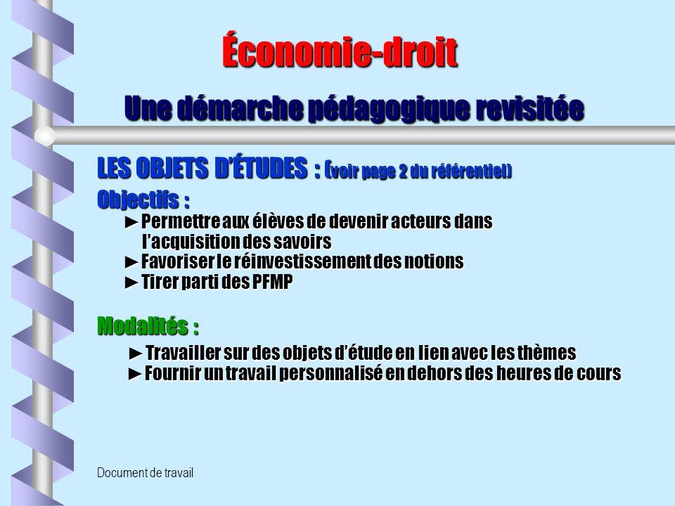 Document de travail Économie-droit Une démarche pédagogique revisitée Économie-droit Une démarche pédagogique revisitée LES OBJETS D'ÉTUDES : ( voir p