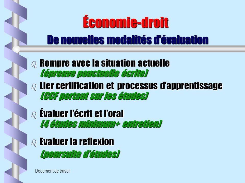Document de travail Économie-droit De nouvelles modalités d'évaluation Économie-droit De nouvelles modalités d'évaluation b Rompre avec la situation a