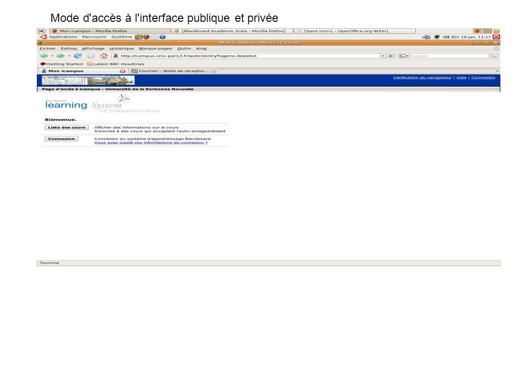 Cette capture est l'interface qui assure le passage au cours en étant inscrit à la formation Mode d'accès à l'interface publique et privée