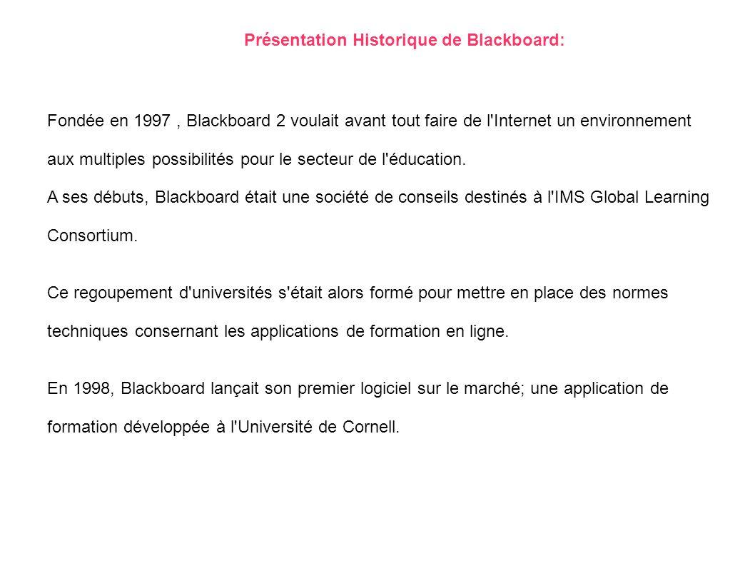 Présentation Historique de Blackboard: Fondée en 1997, Blackboard 2 voulait avant tout faire de l'Internet un environnement aux multiples possibilités