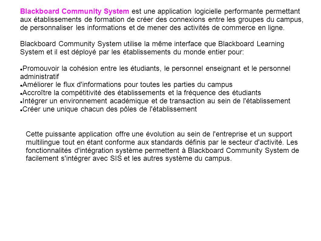 Blackboard Community System est une application logicielle performante permettant aux établissements de formation de créer des connexions entre les gr