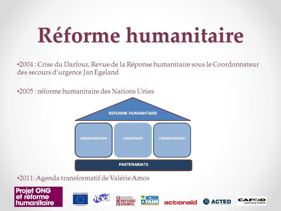 Réforme humanitaire 2004 : Crise du Darfour, Revue de la Réponse humanitaire sous le Coordonnateur des secours d'urgence Jan Egeland 2005 : réforme humanitaire des Nations Unies 2011: Agenda transformatif de Valérie Amos