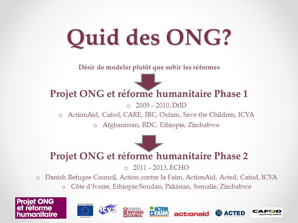 Quid des ONG.