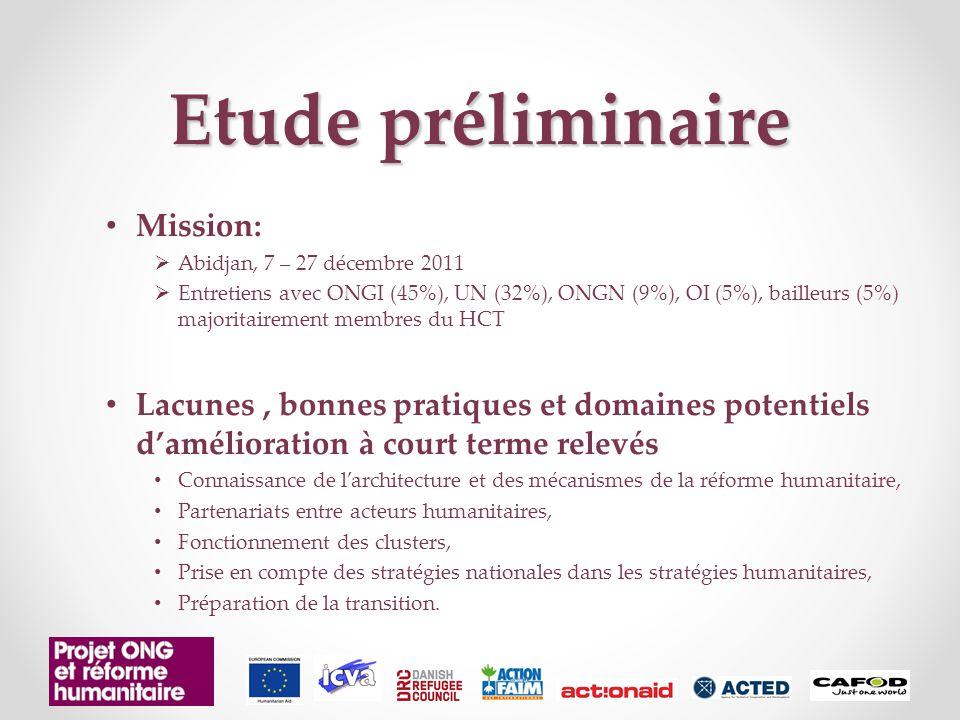 Etude préliminaire Mission:  Abidjan, 7 – 27 décembre 2011  Entretiens avec ONGI (45%), UN (32%), ONGN (9%), OI (5%), bailleurs (5%) majoritairement membres du HCT Lacunes, bonnes pratiques et domaines potentiels d'amélioration à court terme relevés Connaissance de l'architecture et des mécanismes de la réforme humanitaire, Partenariats entre acteurs humanitaires, Fonctionnement des clusters, Prise en compte des stratégies nationales dans les stratégies humanitaires, Préparation de la transition.