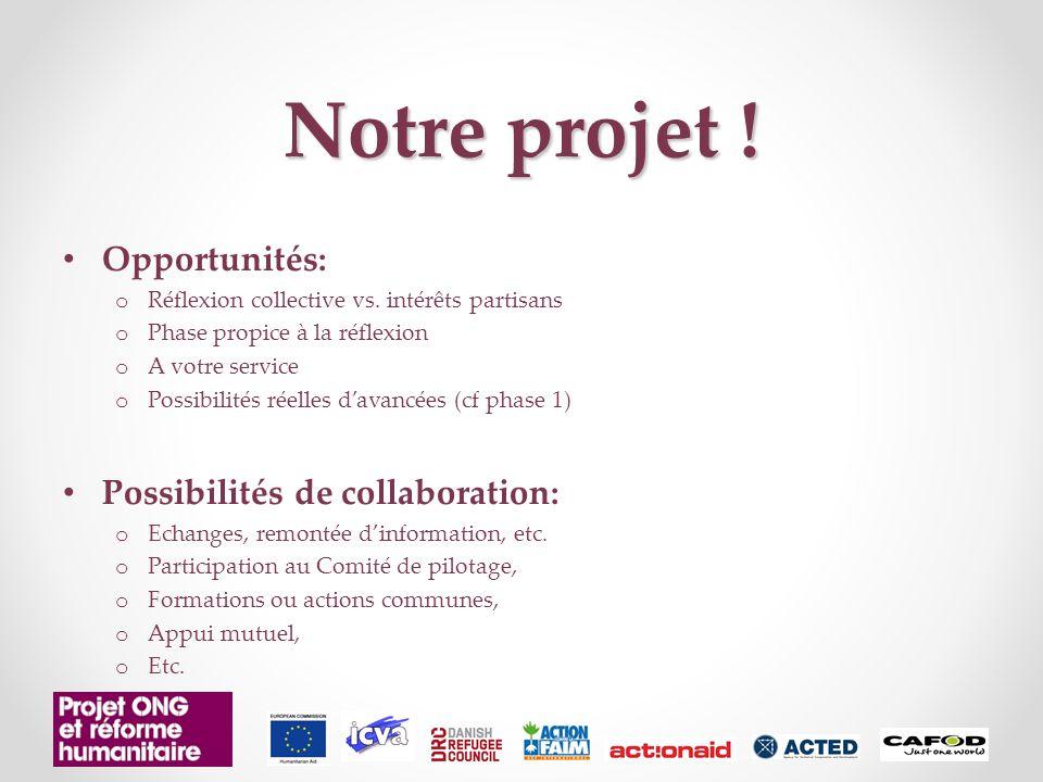 Notre projet . Opportunités: o Réflexion collective vs.