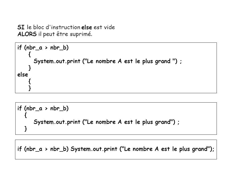 10 SI le bloc d'instruction else est vide ALORS il peut être suprimé. if (nbr_a > nbr_b) { System.out.print (