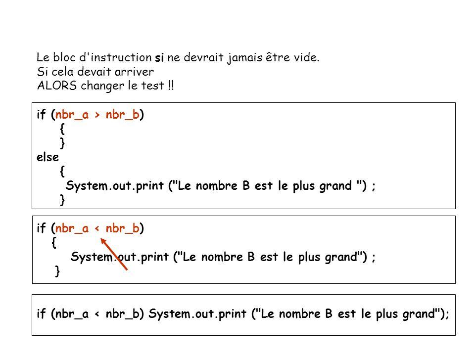 11 Le bloc d'instruction si ne devrait jamais être vide. Si cela devait arriver ALORS changer le test !! if (nbr_a > nbr_b) { } else { System.out.prin