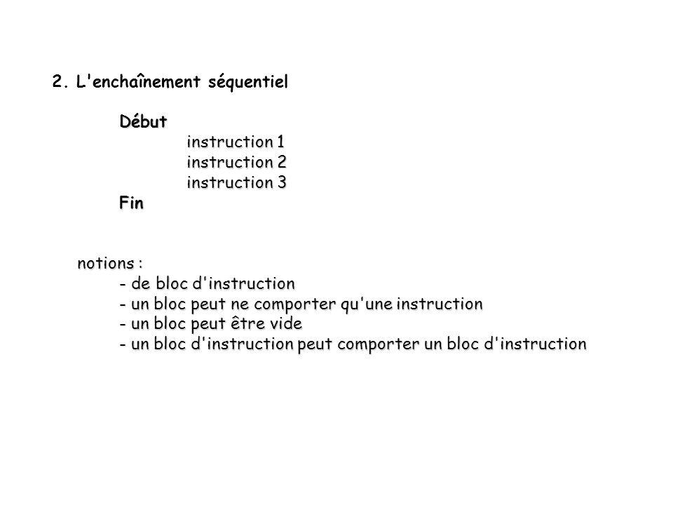 3 2. L'enchaînement séquentiel Début instruction 1 instruction 2 instruction 3 Fin notions : notions : - de bloc d'instruction - un bloc peut ne compo