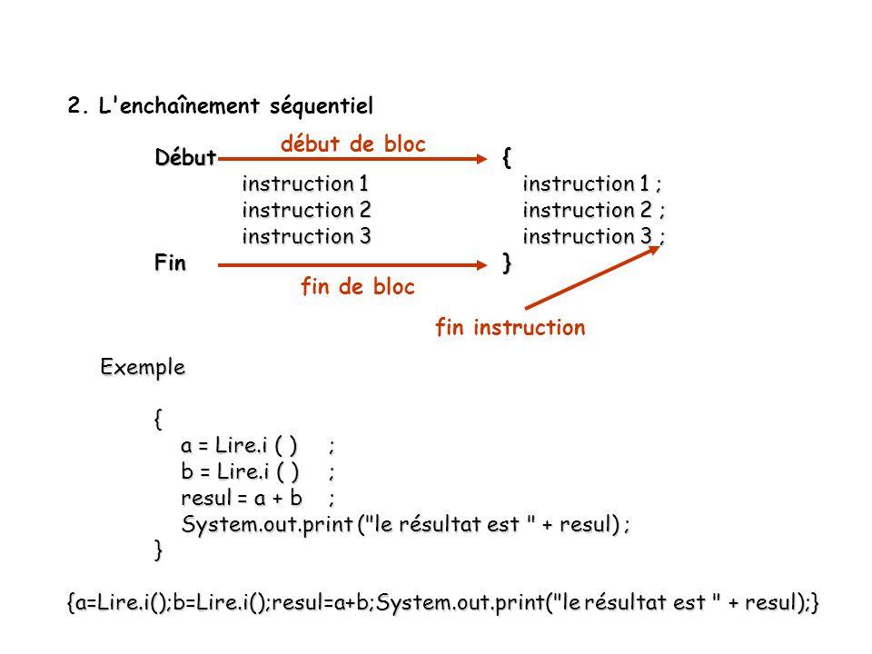6 2. L'enchaînement séquentiel Début{ instruction 1 instruction 1 ; instruction 1 instruction 1 ; instruction 2 instruction 2 ; instruction 3 instruct