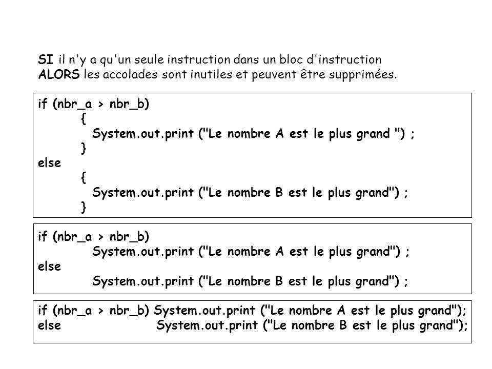 20 Les conditions imbriquées : if (niveau > 60 ) HAUT { if (seuil > 80) 80 System.out.print ( seuil haut ) ; else MOYEN System.out.print ( seuil moyen ) ; } 60 else { BAS System.out.print ( seuil bas ) ; }