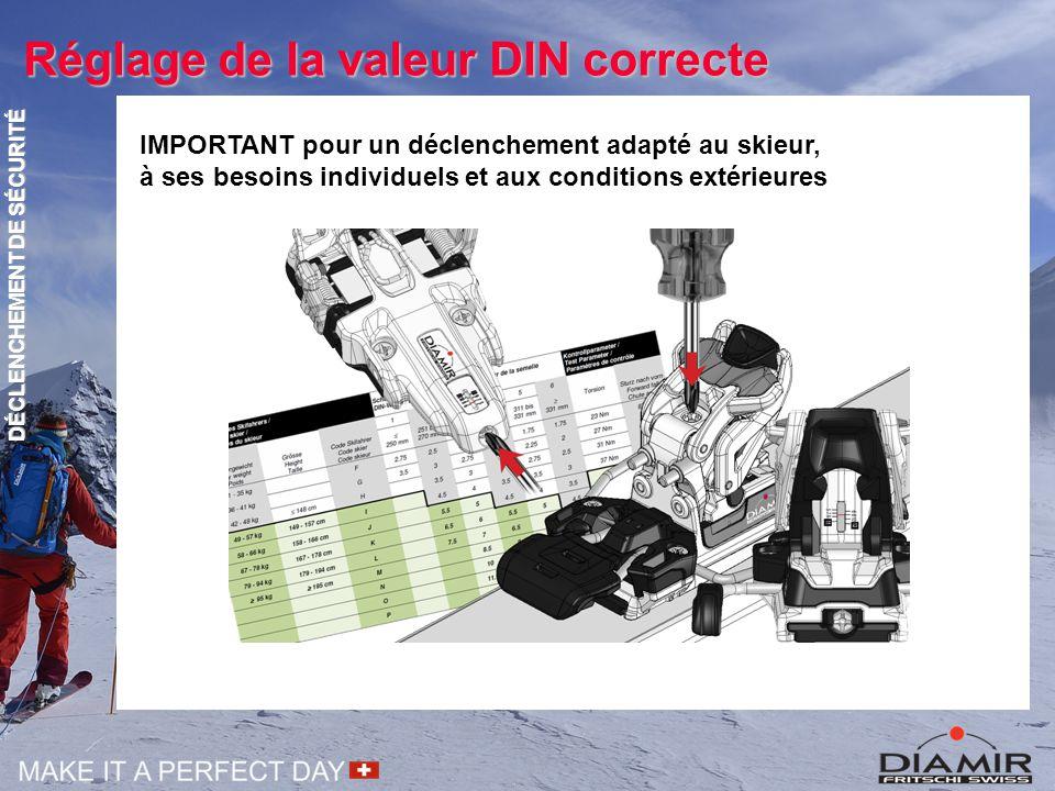 Réglage de la valeur DIN correcte IMPORTANT pour un déclenchement adapté au skieur, à ses besoins individuels et aux conditions extérieures DÉCLENCHEM