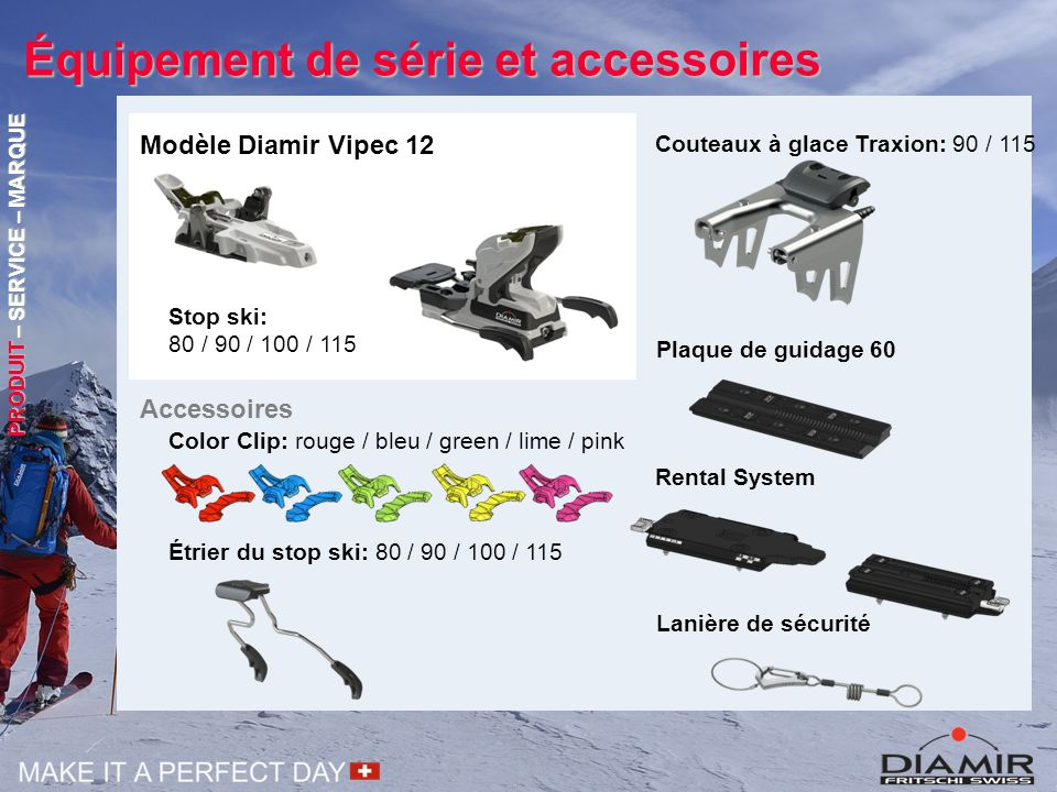 Équipement de série et accessoires Color Clip: rouge / bleu / green / lime / pink Couteaux à glace Traxion: 90 / 115 Plaque de guidage 60 Accessoires