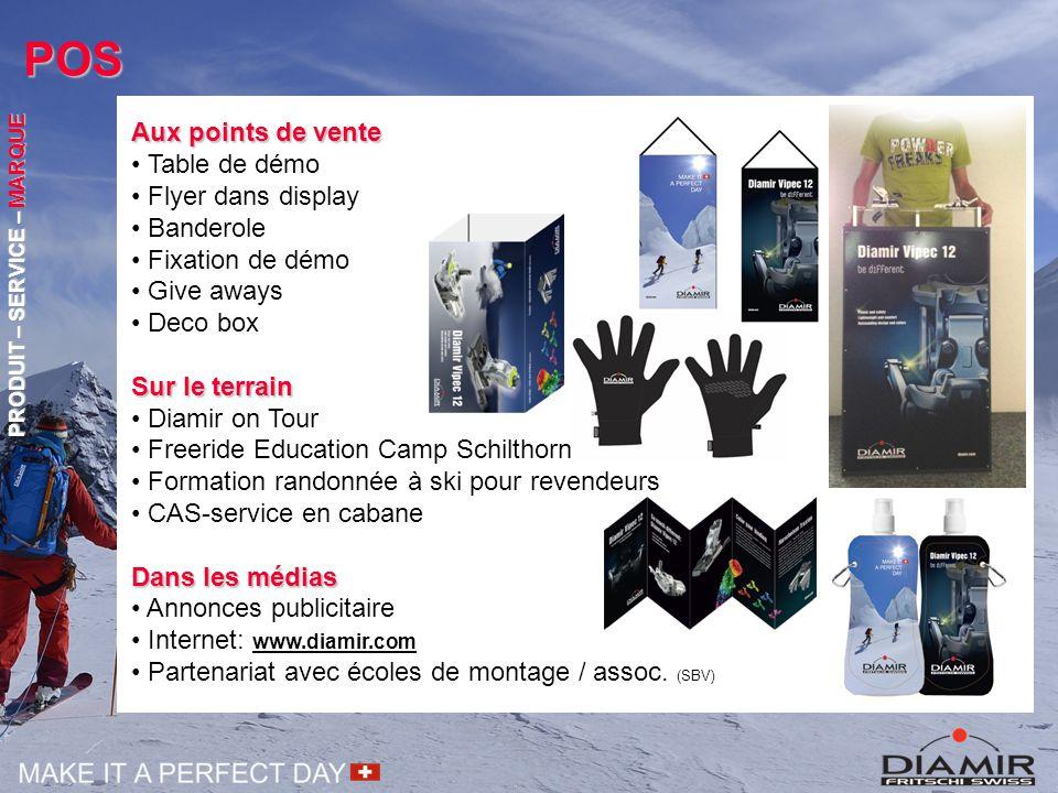 POS Aux points de vente Table de démo Flyer dans display Banderole Fixation de démo Give aways Deco box Sur le terrain Diamir on Tour Freeride Educati