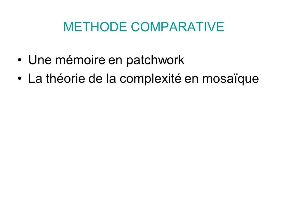 METHODE COMPARATIVE Une mémoire en patchwork La théorie de la complexité en mosaïque