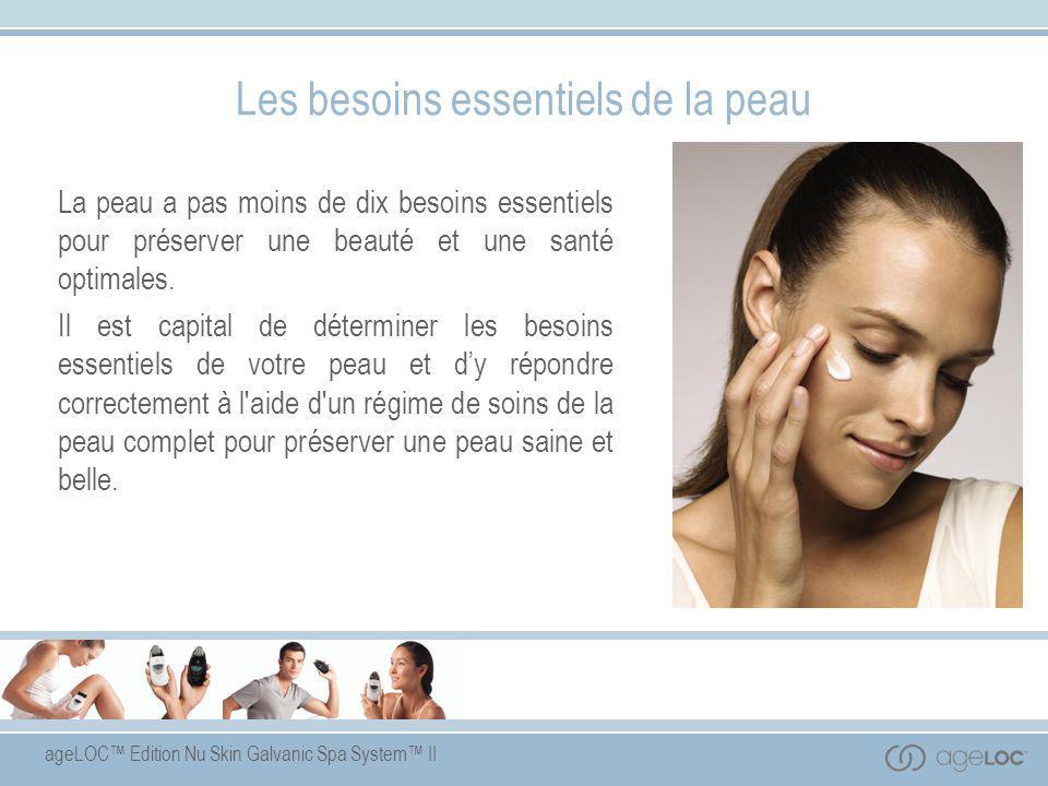 ageLOC™ Edition Nu Skin Galvanic Spa System™ II Approche synergique des soins de la peau Les meilleurs produits de soins pour la peau sont conçus pour agir en synergie afin de subvenir aux besoins essentiels de la peau.