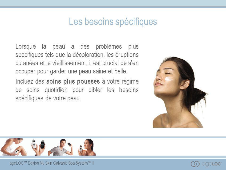 ageLOC™ Edition Nu Skin Galvanic Spa System™ II Récapitulation Les courants galvaniques s'utilisent aujourd'hui dans le domaine des cosmétiques, pour favoriser l'assimilation des ingrédients-clés par la peau.