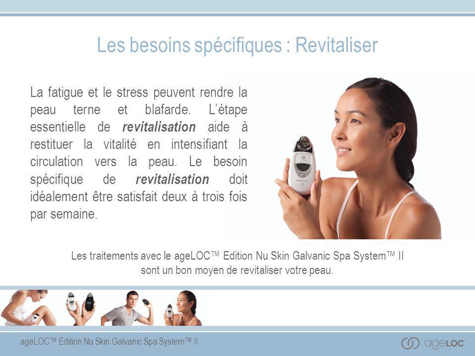 Le ageLOC™ Edition Nu Skin Galvanic Spa System™ II est un appareil programmable utilisant une technique déposée d'émission de courants galvaniques réglables et muni de têtes conductrices interchangeables, pour le visage, le cuir chevelu et le corps, qui agissent en synergie avec des produits spécialement formulés pour une meilleure absorption des ingrédients-clés par la peau.