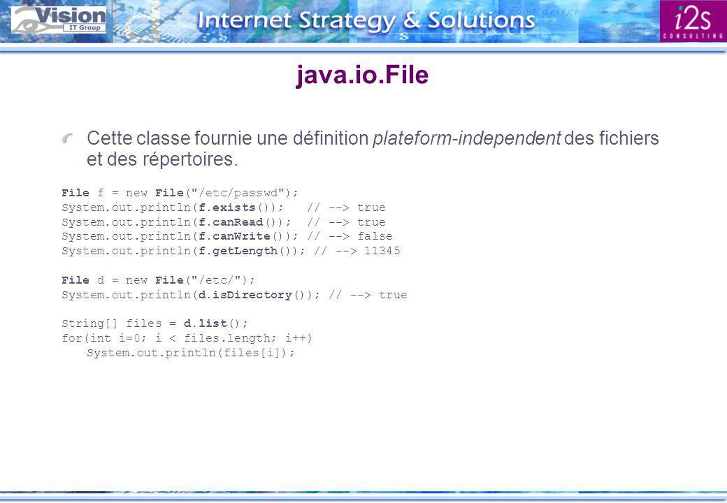 java.io.File(Input|Output)Stream Ces classes permettent d accèder en lecture et en écriture à un fichier.